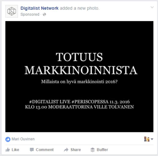 Markkinoi Periscope-lähetystä vaikka Facebook-mainoksella