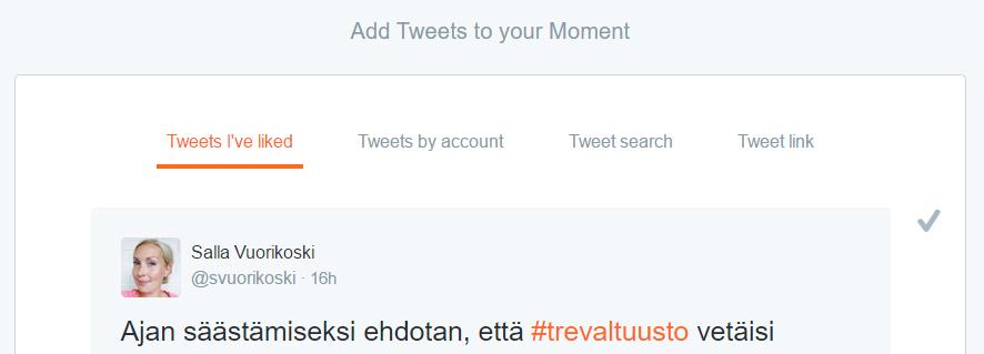 Valitse tweettejä Twitter Hetken mausteeksi