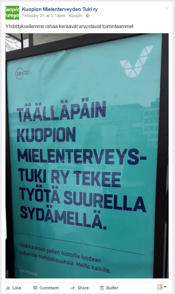 Maininta sosiaalisessa mediassa kohdistui Kuopion mielenterveyden tuki ry:hyn ja se vastasi