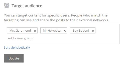 Target audiences -kohtaan voit luoda ryhmiä, vaikka ostajapersoonien perusteella.