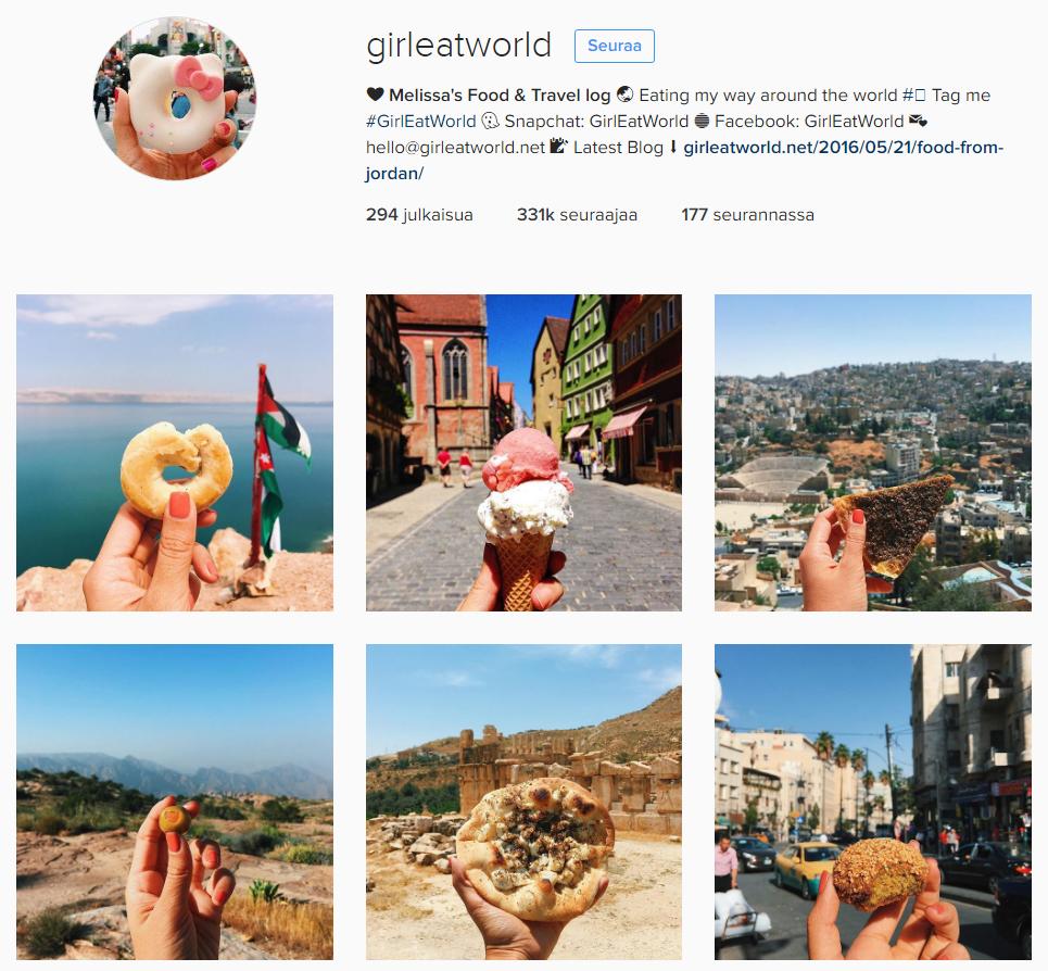Miten markkinoida sosiaalisessa mediassa? Esimerkiksi @girleatworld tarjoilee elämyksen erilaisten kuvien linjallaan