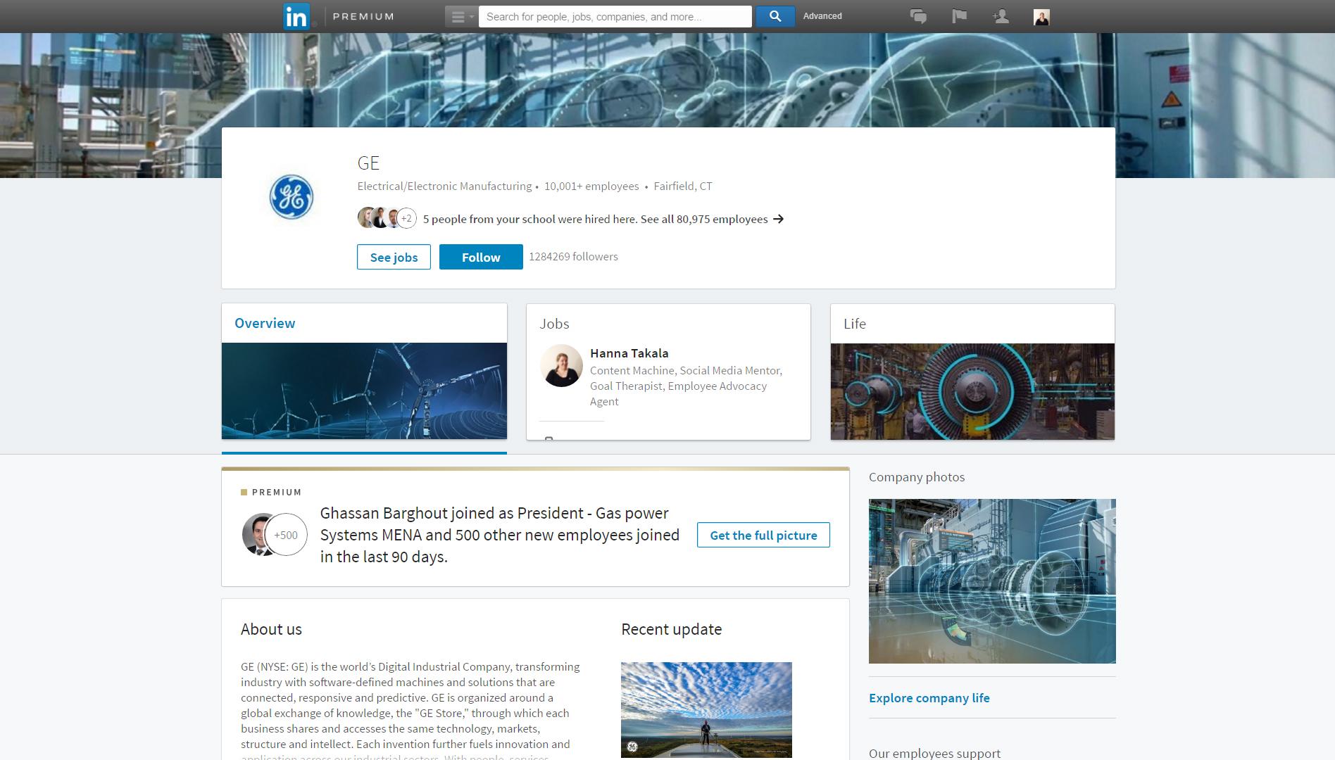 LinkedIn uusi yrityssivu, esimerkkinä GE