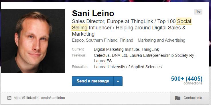 """Sani Leinon hyvä profiili LinkedInissä sisältää avainsanoja kuten """"social selling"""""""