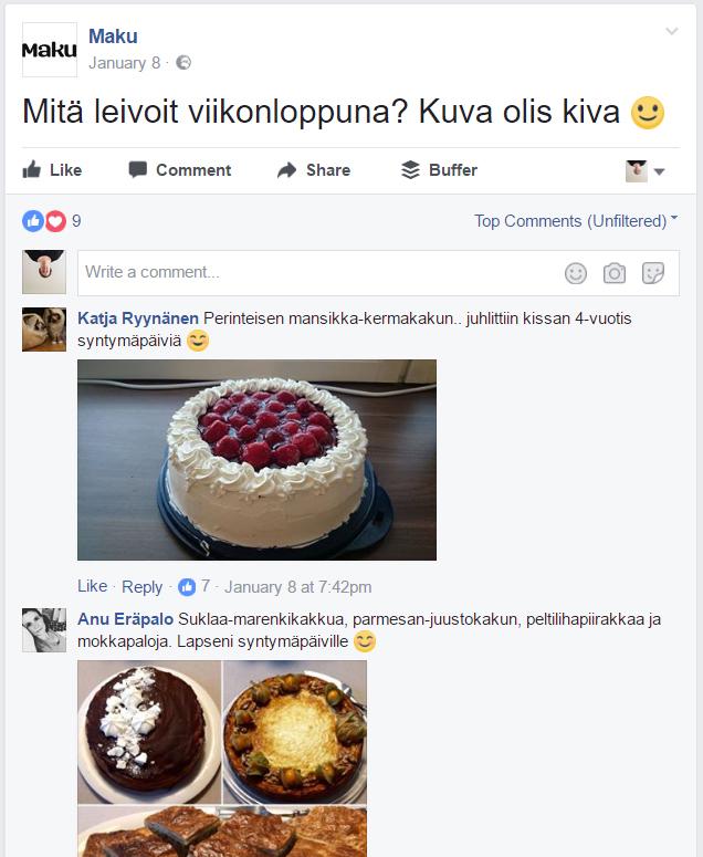 vuorovaikutus sosiaalisessa mediassa ja Maku-lehden esimerkki Facebookissa