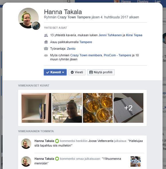 Facebook-ryhmän jäsenen profiilikortti